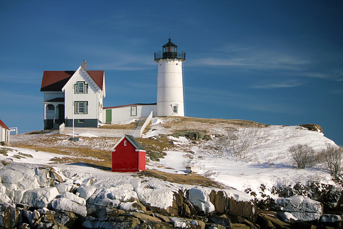 "Cape Neddick ""Nubble"" Lighthouse on the day after the Blizzard of 2013 by nelights"