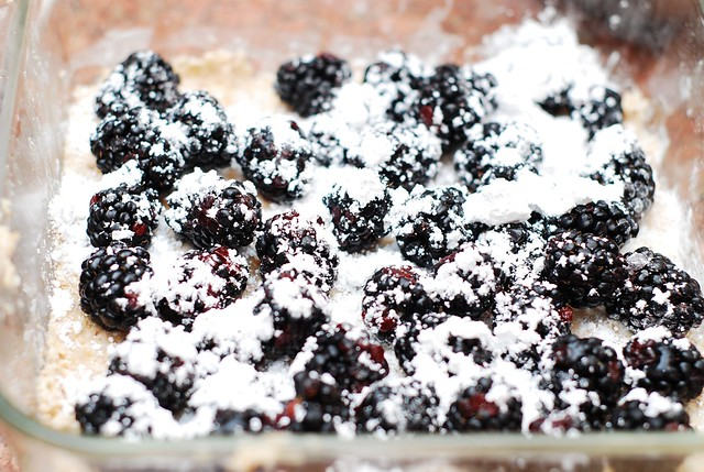 Sprinkle sugar on top of blackberries