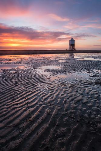 uk sunset sea england lighthouse water sand europe unitedkingdom britain somerset burnhamonsea