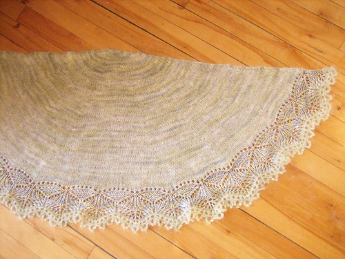 Finished & blocked shawl