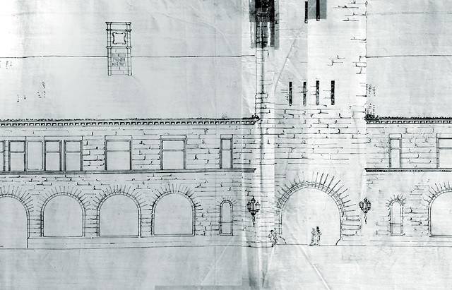 Facade details from original rendering: Proposed Passenger Station and Offices for Northern Pacific at Portland, Oregon: McKim, Mead & White, 1882