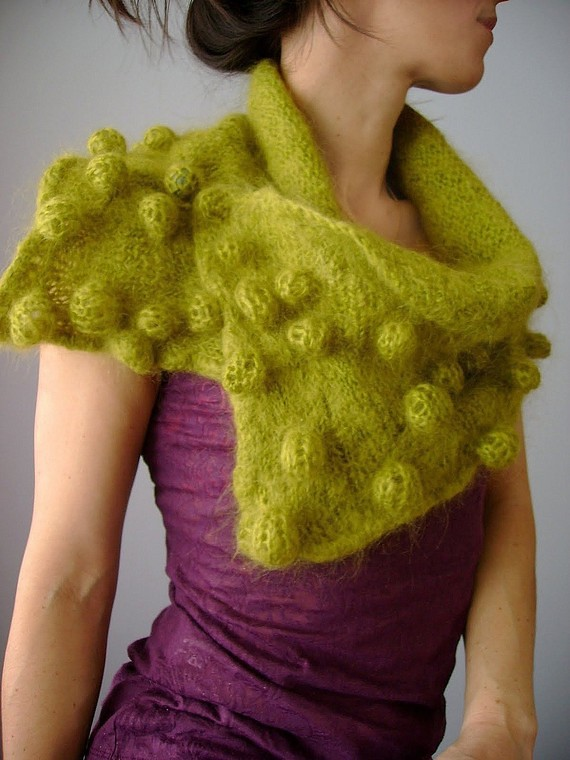 PDF Knitting pattern OOAK, Shibori Knitted scarf, Felted scarf , Bubbles, Bobble , neck warmer. cape, capelet
