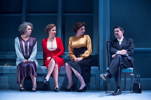Irene Macdogall, Emily Winter, Jessica Tomchak and Andy Clark in Time and the Conways at the Royal Lyceum Theatre and transfering to Dundee Rep. Photo © Tommy Ga-Ken Wan