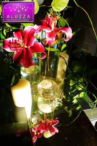 Pecera con vela flotante y gemas para decoración de boda aluzza