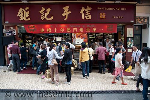 Pasteles en una pastelería de Macao