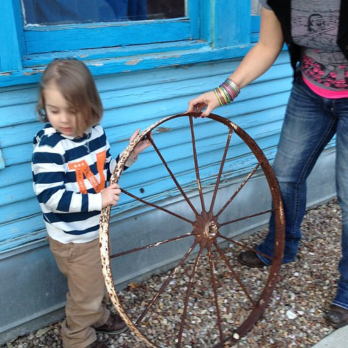 Alex and a wagon wheel