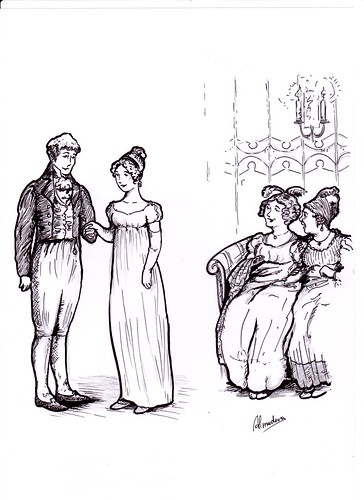 Dibujo - Jane y Bingley se conocen by Sitio de Jane Austen