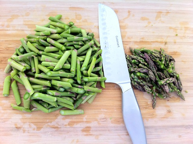 Asparagus Stems Sliced into Pieces