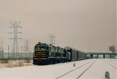 Eastbound Belt Railway of Chicago transfer train departing from Clearing Yard.  Chicago Illinois.  January 1987. by Eddie from Chicago