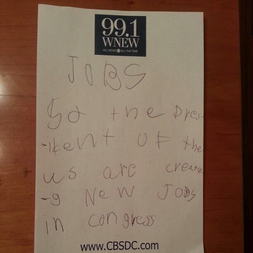 Note from my 7 yr old son. Maybe because he listens to the radio with me ;)