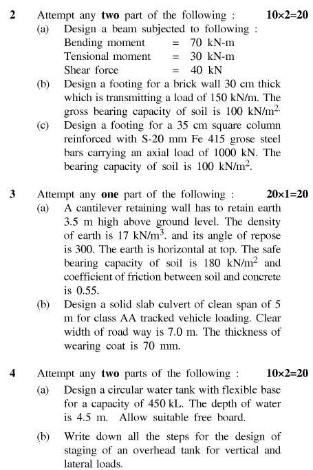 UPT B.Tech Question Papers - TCE-602-Concrete Structure – II