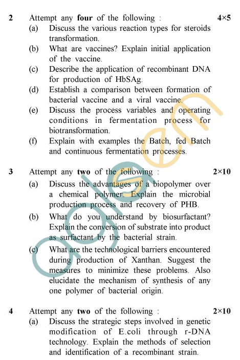 UPTU: B.Tech Question Papers - TBE-601 - Fermentation Biotechnology-II