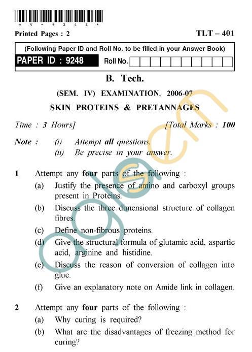 UPTU: B.Tech Question Papers -TLT-401 - Skin Proteins & Pretannages
