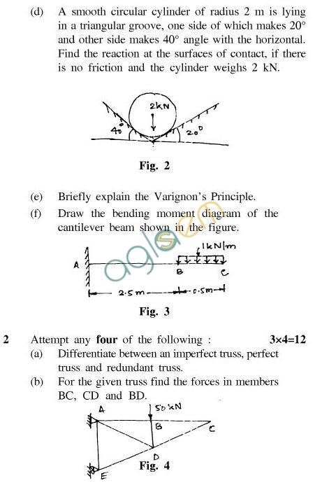 UPTU: B.Tech Question Papers - ME-202 - Engineering Mechanics