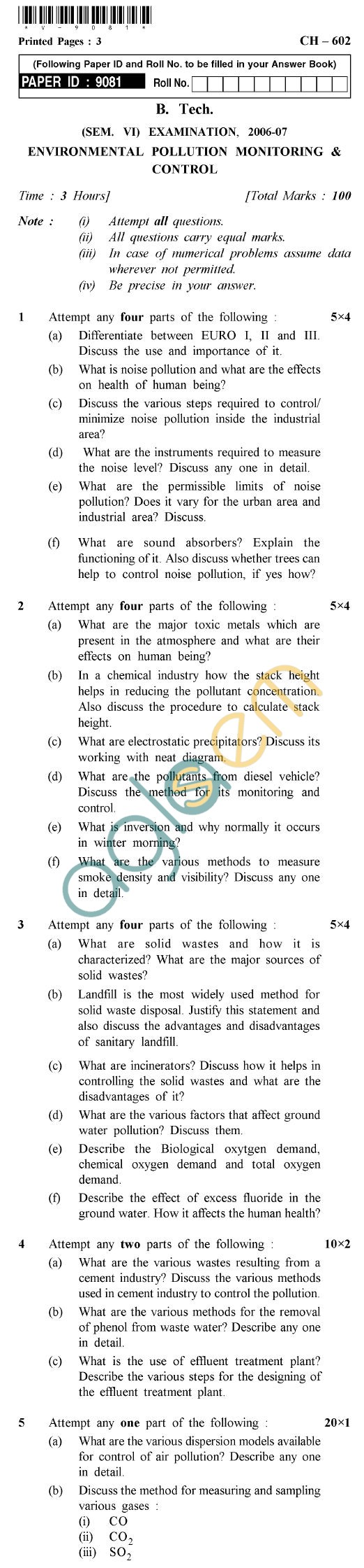 UPTU B.Tech Question Papers - CH-602 - Environmental Pollution Monitoring & Control
