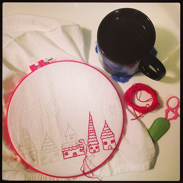 A lovely Sunday evening: tea, embroidery, and West Wing.