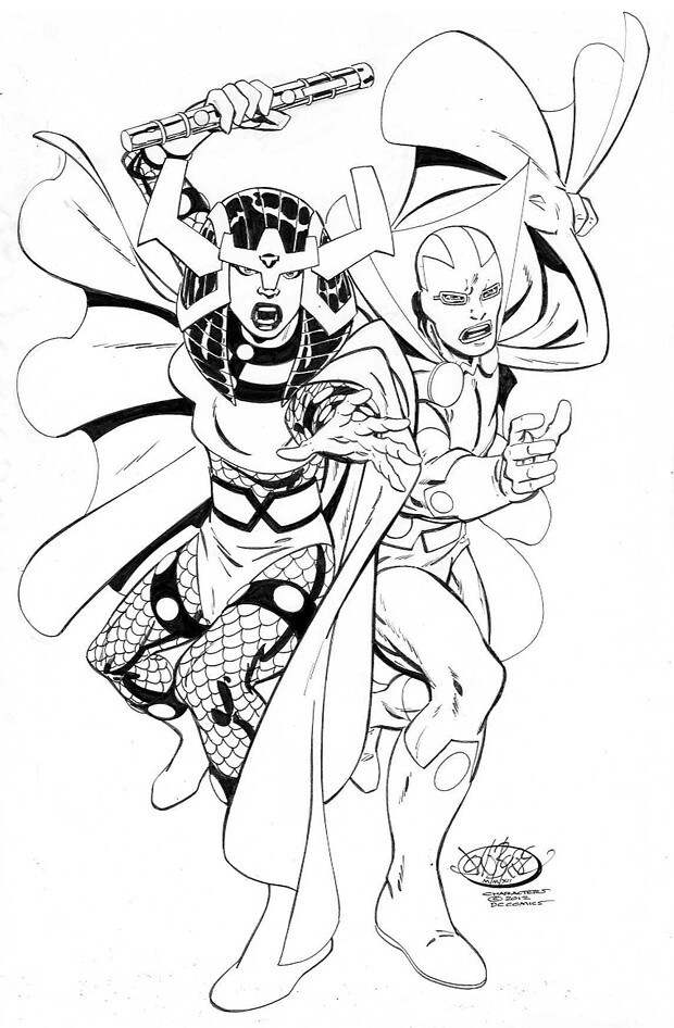 Miracle Man and Big Barda by John Byrne
