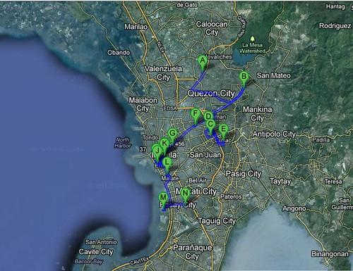 Map to Metro Manila Churches for Bisita Iglesia