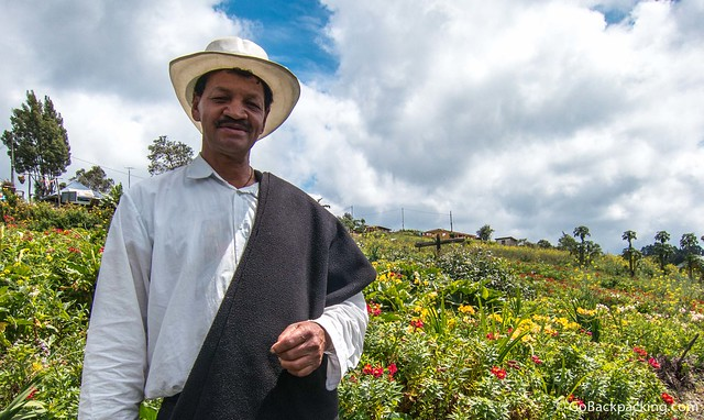 Don Joaquin, another award-winning silletero, in his garden