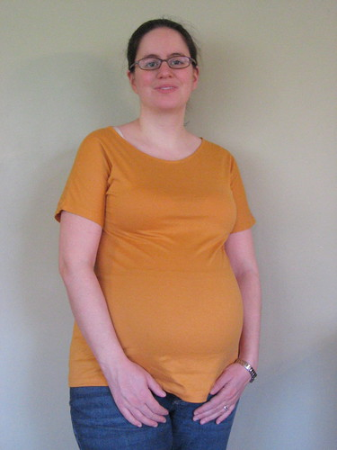 Orange maternity shirt