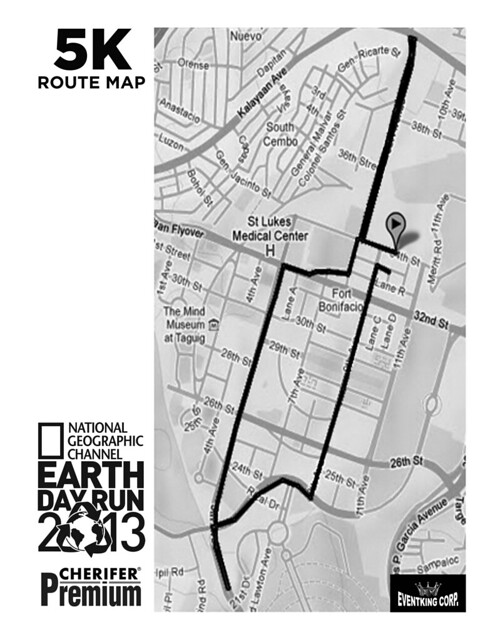 the running enthusiast  natgeo earth day run 2013 5K route map