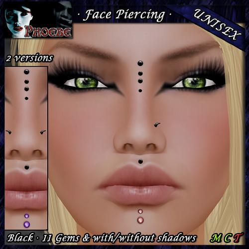 P Unisex Face Piercing Q5 ~Black-11 Gems~