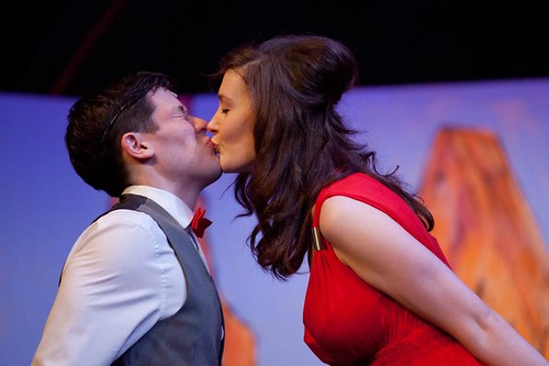 Adam Pringle (Finch) and Josephine Heinemeier (Hedy LaRue). Photo © Alan Potter/Edinburgh Music Theatre. Church Hill Theatre