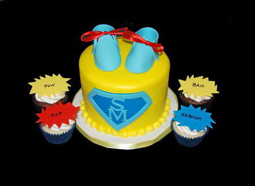 Super Mom Super Hero Themed Baby Shower Cupcake Tower
