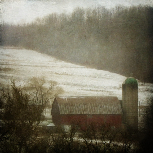 trees winter snow storm fog barn rural photoshop landscape kodak pennsylvania farm country silo hills explore textures distressedjewell