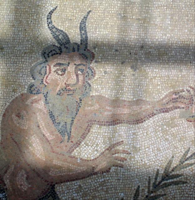 Man with a horned hat. Villa Romana del Casale, Piazza Armerina, Sicilia, Italia.