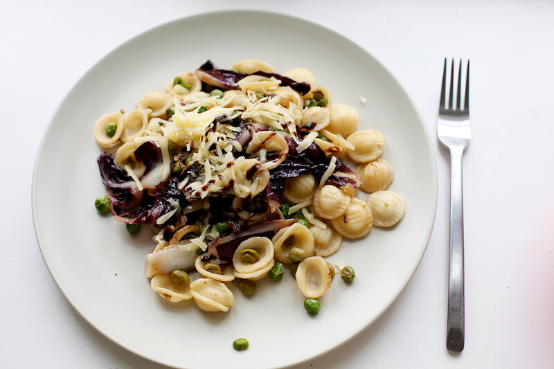 Orecchiette with Radicchio and Peas
