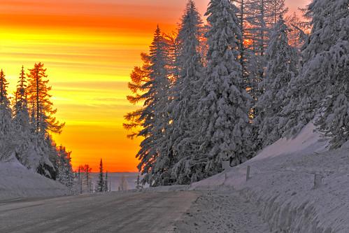 winter sky snow mountains cold color sunrise washington wa shermanpass kettlefalls republicwa