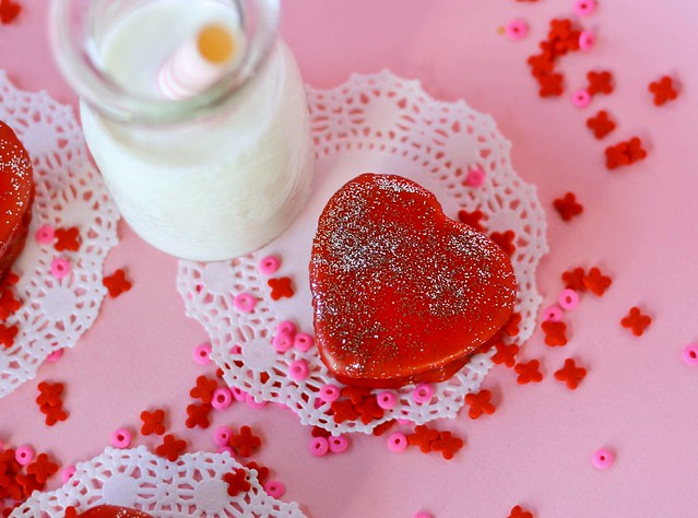 Red Velvet Heart Petit Fours for Valentine's Day