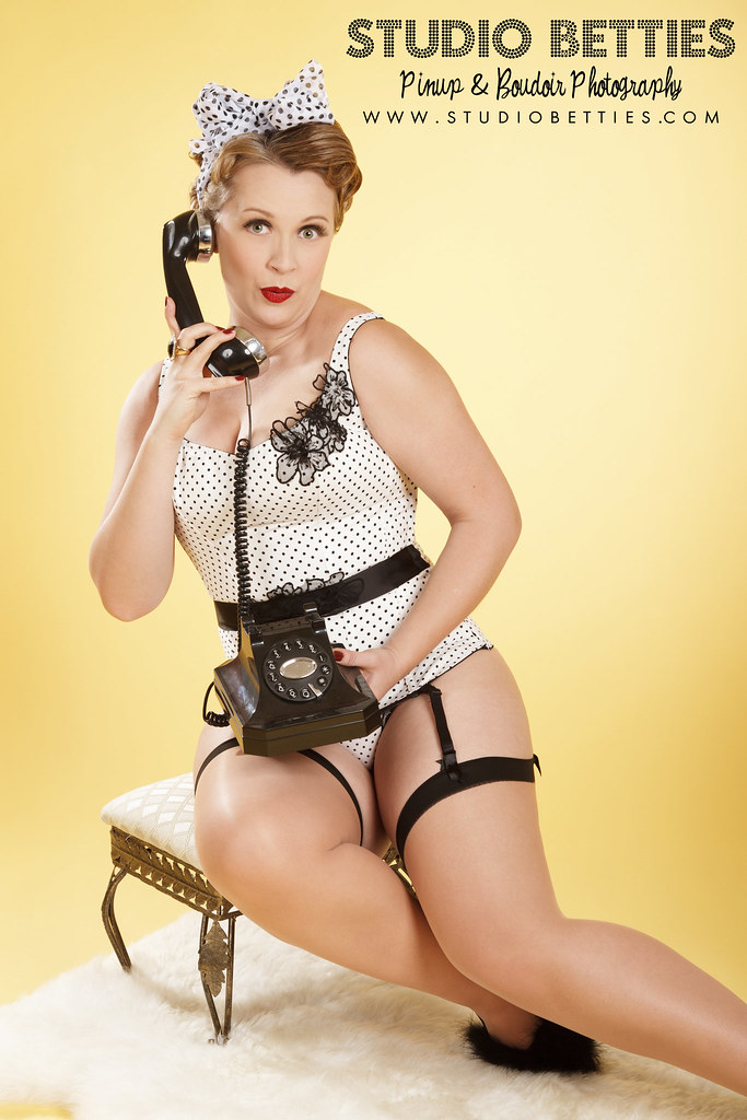 Black and White Polka Dot Pinup with Telephone