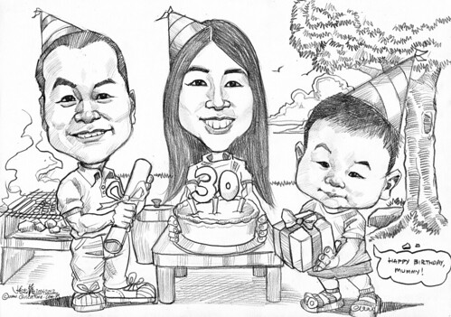 family birthday BBQ caricatures in pencil