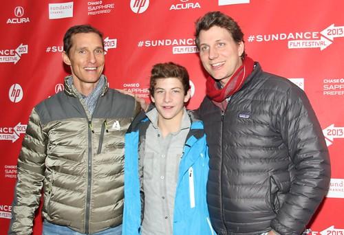 Matthew McConaughey, Tye Sheridan, and Jeff Nichols at Mud red carpet