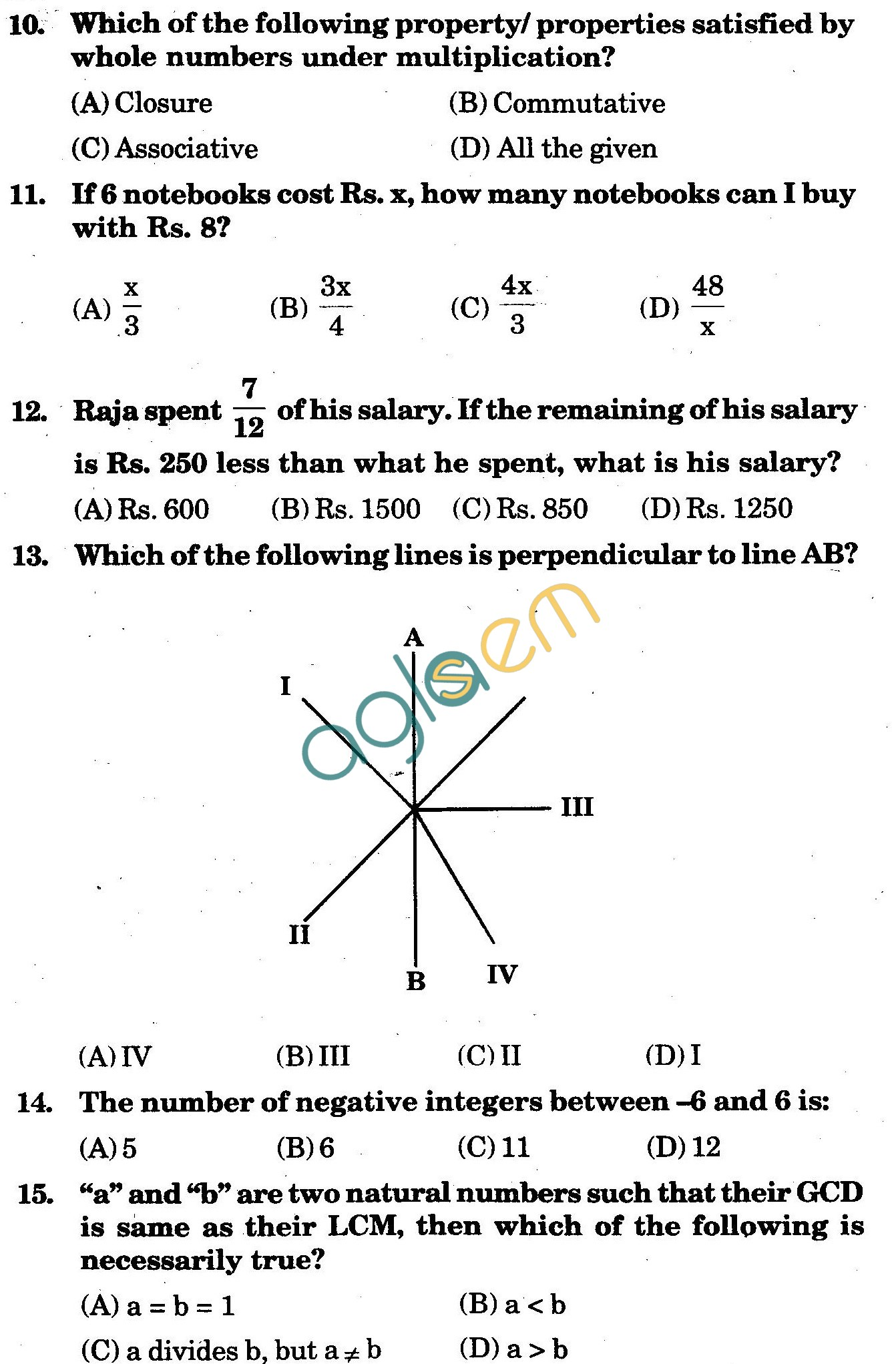 NSTSE 2010: Class VI Question Paper with Answers - Mathematics