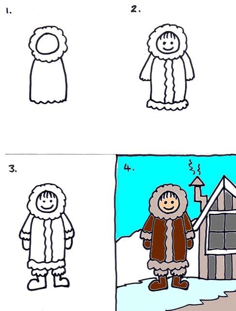 Kids art: How to draw an Eskimo/Inuit | Art for Kids