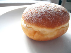 doughnut(0.0), english muffin(0.0), anpan(0.0), soufflã©(0.0), pastry(1.0), baking(1.0), sufganiyah(1.0), baked goods(1.0), profiterole(1.0), food(1.0), dish(1.0), pä…czki(1.0), cuisine(1.0), beignet(1.0), brioche(1.0),