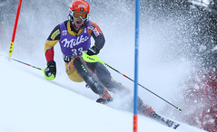 Trevor Philp maneuvers between gates in the men's slalom in Wengen, Switzerland.