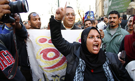 Egyptians demonstrated on February 11, 2013 in commemoration of the second anniversary of the fall of former President Hosni Mubarak. People demonstrated in cities across the North African state. by Pan-African News Wire File Photos