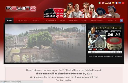 """ROMA ARCHEOLOGIA:  UNA FLOP - """"3DRewind Rome"""" - Una Roma antica virtuale e a tre dimensioni, basato sul progetto """"Rome Reborn"""", del professor Bernard Frischer, (12/2012)."""