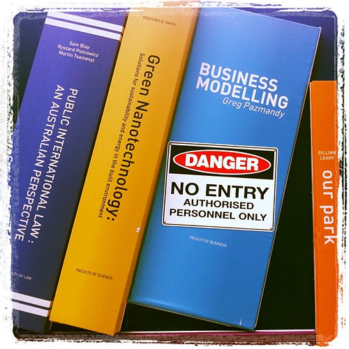 Danger! Authorised entry only to Business Modelling books at the new @UTSlibrary @UTSengage #uts #sign
