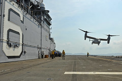 An MV-22 Osprey aircraft lifts off of the flight deck of USS Bonhomme Richard (LHD 6), Feb. 19, in the Gulf of Thailand. (U.S. Navy photo by Mass Communication Specialist 3rd Class Michael Achterling)