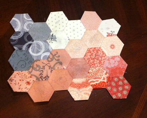 Pink and gray paper pieced hexagons