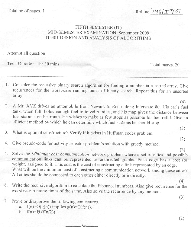 NSIT: Question Papers 2009 – 5 Semester - Mid Sem - IT-301