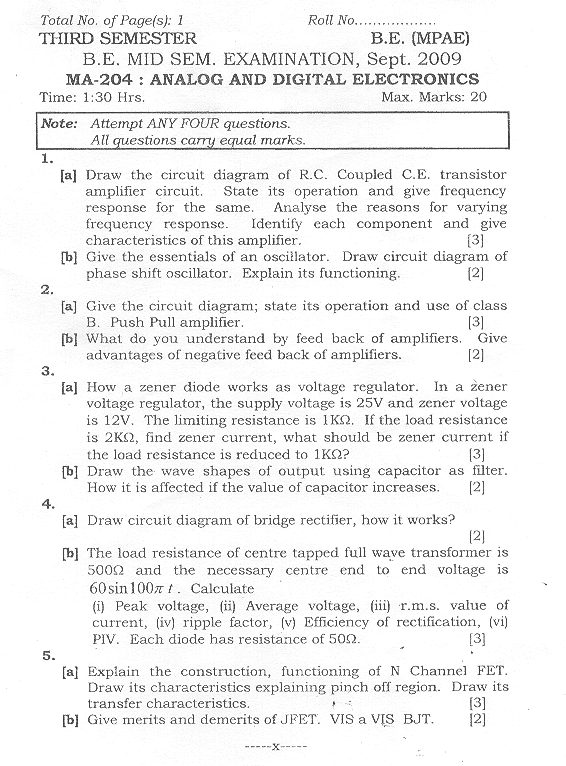 NSIT: Question Papers 2009 – 3 Semester - Mid Sem - MA-204