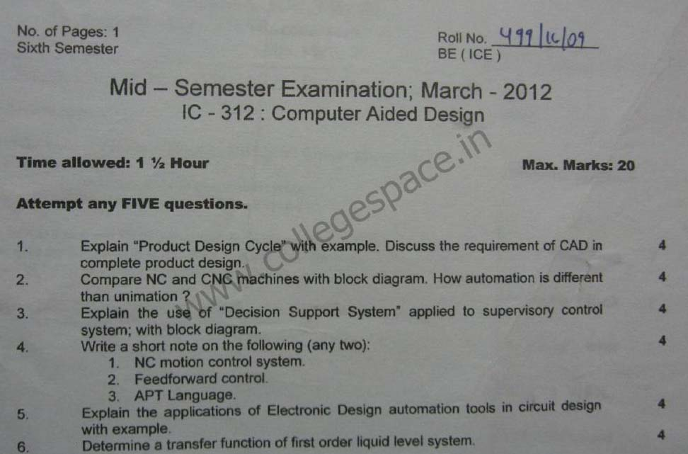 NSIT Question Papers 2012 – 6 Semester - Mid Sem - IC-312