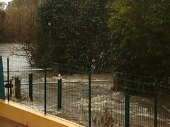 Le Casavecchia en crue avec le pont submergé