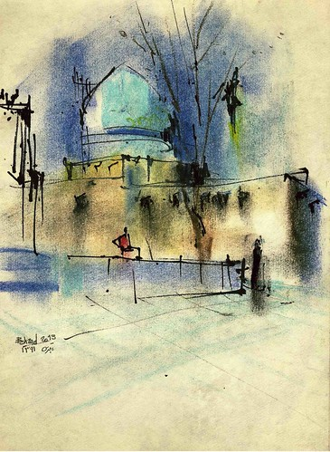 Chaharbagh School- The dome by Behzad Bagheri Sketches